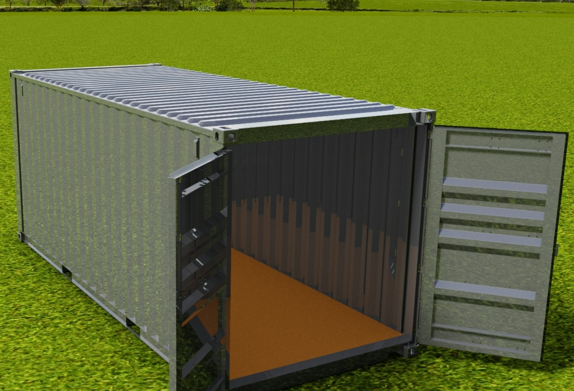 20ft Double Door ISO Shipping Container 3D CAD Model