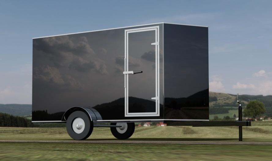 6ft x 12ft Enclosed Cargo Trailer - V-Nose 3D CAD Model
