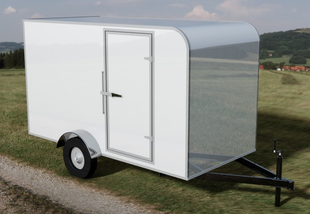 6ft x 12ft Enclosed Cargo Trailer - Rounded Front Roof 3D CAD Model